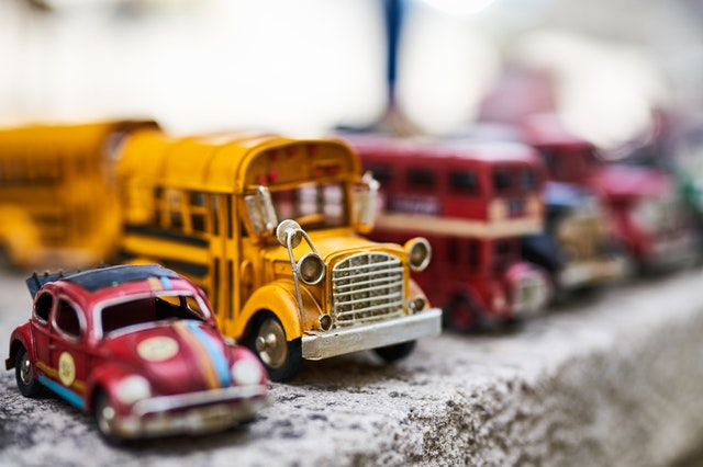 Toy cars and busses