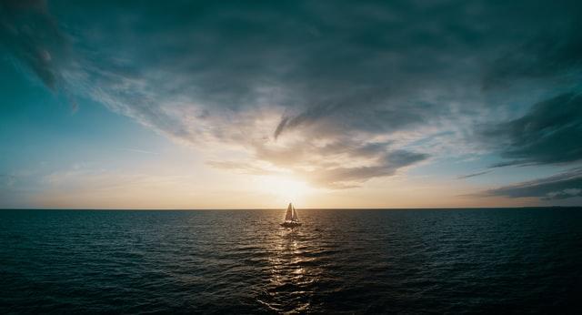 Sailboat in a lone sea