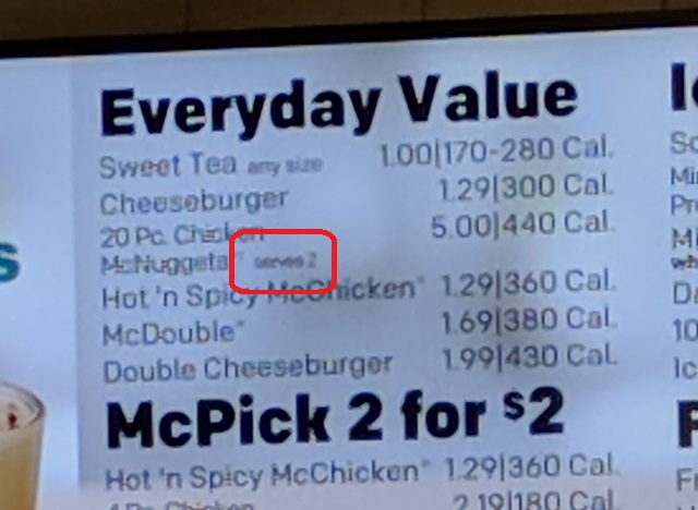 menu saying 20 piece mcnuggets serves 2